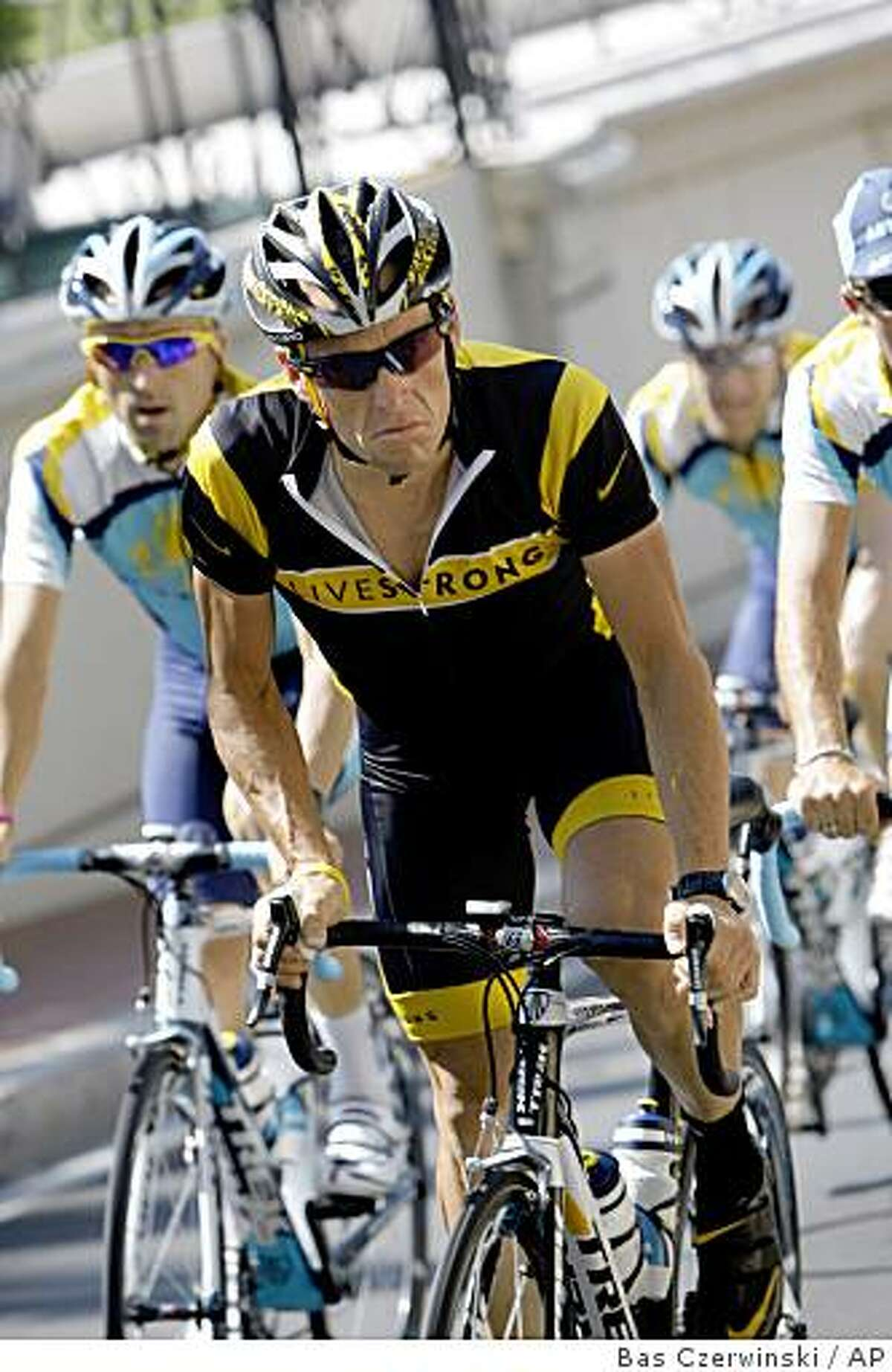 Seven-time Tour de France winner Lance Armstrong of the United States rides with his Astana teammates in Monaco Thursday July 2, 2009, ahead of the start of the 96th edition of the Tour de France cycling race Saturday July 4, 2009. (AP Photo/Bas Czerwinski)