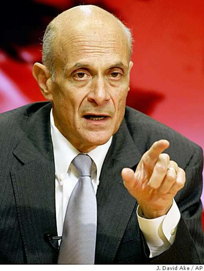 Homeland Security Secretary Michael Chertoff  gestures during an Associated Press newsmaker interview, Thursday Jan. 17, 2008, in Washington.  (AP Photo/J. David Ake) Photo: J. David Ake, AP