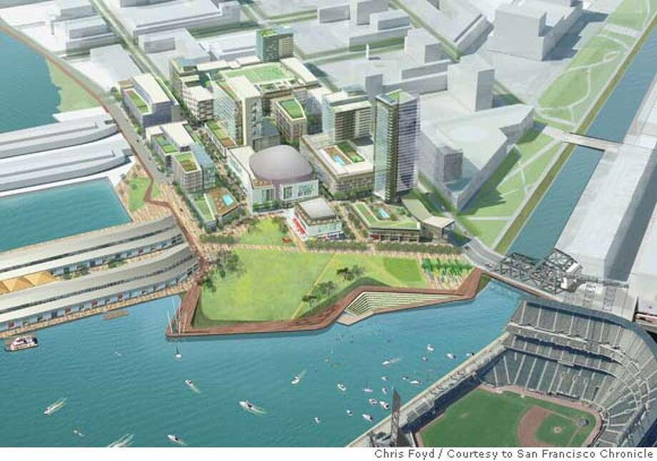 Undated rendering of the development proposal for the parking lot next to AT&T Park. Chris Foyd/San Francisco Giants / Courtesy to San Francisco Chronicle  Ran on: 02-14-2008  This rendering shows the San Francisco Giants' proposal for the development of the Port of San Francisco's Seawall Lot 337.  Ran on: 02-14-2008 Ran on: 02-16-2008  Rendering shows the Giants proposal, an entertainment center including a 5,000-seat music hall, offices, homes and a five-acre park. Photo: Chris Foyd/San Francisco Giants