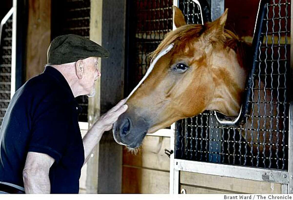 Jackson stops to talk with a young filly staying at his stables. He loves being surrounded by animals on the ranch. Jess Jackson, winemaker turned racehorse owner, at his ranch near Geyserville still calls himself a farmer as he roams around on his huge estate on Alexander mountain.