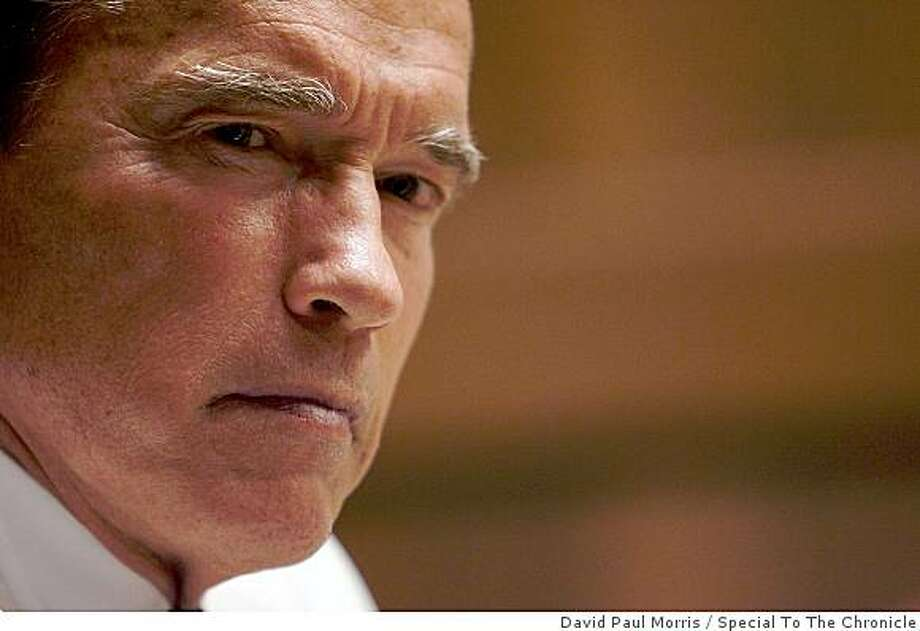 California Governor Arnold Schwarzenegger speaks to the editorial board of the San Francisco Chronicle July 3, 2009 in San Francisco, Calif. (Photograph by David Paul Morris/Special to The Chronicle) Photo: David Paul Morris, Special To The Chronicle