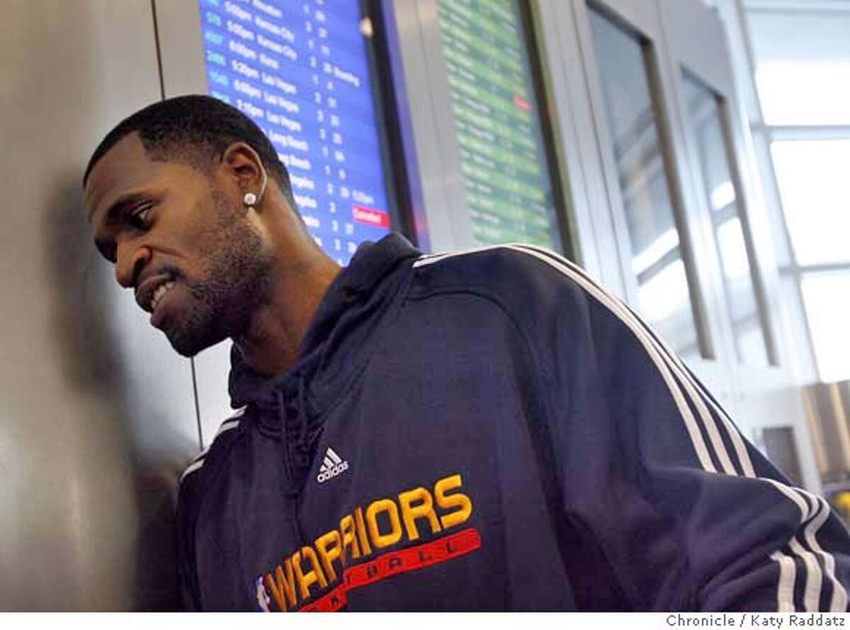 Stephen Jackson of the Golden State Warriors takes a moment to talk about his life after greeting third graders from his hometown of Port Arthur, Texas as they exited a Southwest Airlines flight in Oakland, Calif. on Monday, February 25, 2008. The kids won a contest put on by the Warriors, and they will be guests of the Warriors for a game and a tour of the town. Photo by Katy Raddatz / San Francisco Chronicle MANDATORY CREDIT FOR PHOTOG AND SAN FRANCISCO CHRONICLE/NO SALES-MAGS OUT