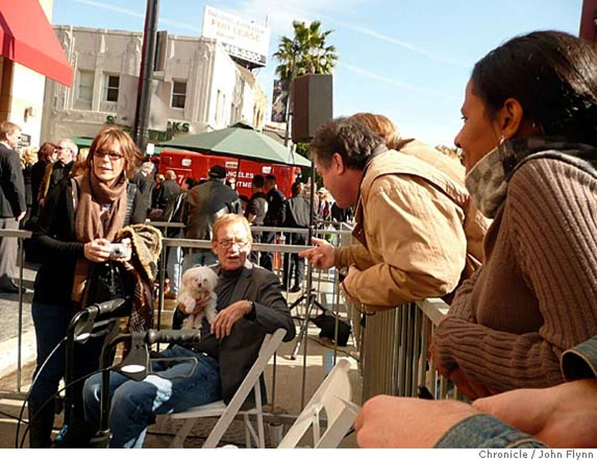 TRAVEL HOLLYWOOD -- Jack Riley, who played Mr. Carlin on the original Bob Newhart Show, chats with fans during the ceremony to place a posthumus star on the Walk of Fame for his onetime co-star, Suzanne Pleshette. Credit: John Flinn / The Chronicle