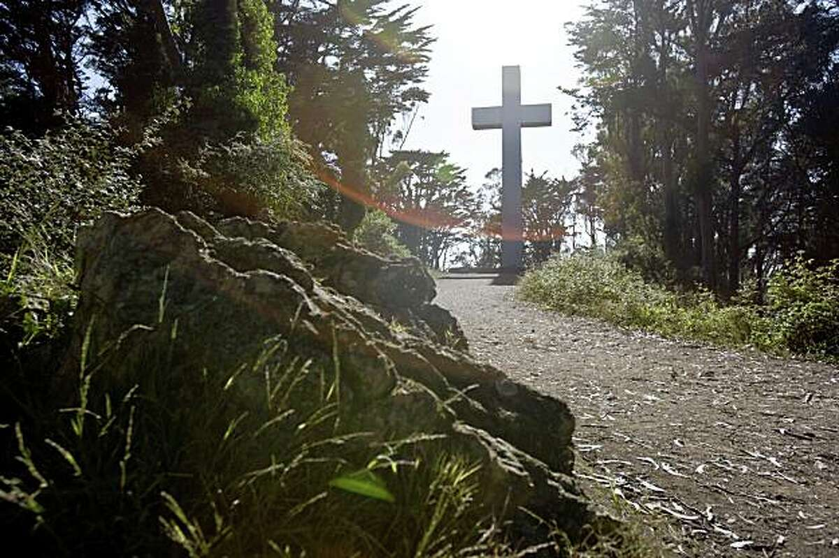 The summit at Mount Davidson is topped off by a large cross in San Francisco, Calif., on Saturday, June 20, 2009.