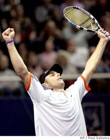 Andy Roddick celebrates after defeating Radek Stepanek, of the Czech Republic, 6-4, 7-5 in the finals of the SAP Open tennis tournament in San Jose, Calif., Sunday Feb. 24, 2008. (AP Photo/Paul Sakuma) Photo: Paul Sakuma