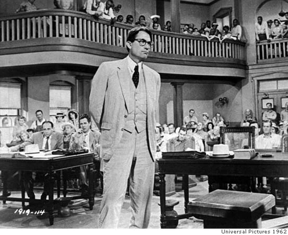 ** HOLD FOR RELEASE UNTIL 11 P.M. EDT -- FILE ** In this 1962 file photo, actor Gregory Peck is shown as attorney Atticus Finch, a small-town Southern lawyer who defends a black man accused of rape, in a scene from