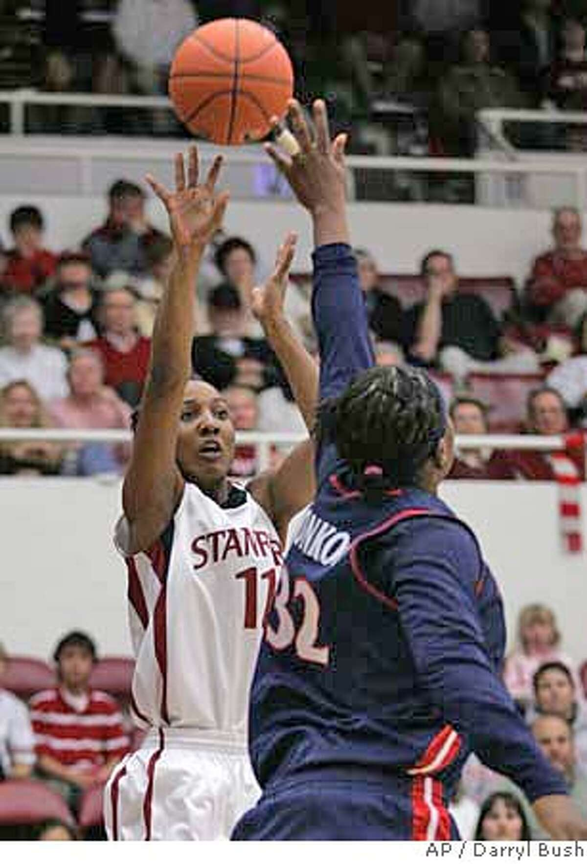 Stanford's Candice Wiggins (11) shoots over Arizona's Amina Njonkou (32) in the first half of their NCAA basketball game in Stanford, Calif., Thursday, Feb. 14, 2008. (AP Photo/Darryl Bush) EFE OUT