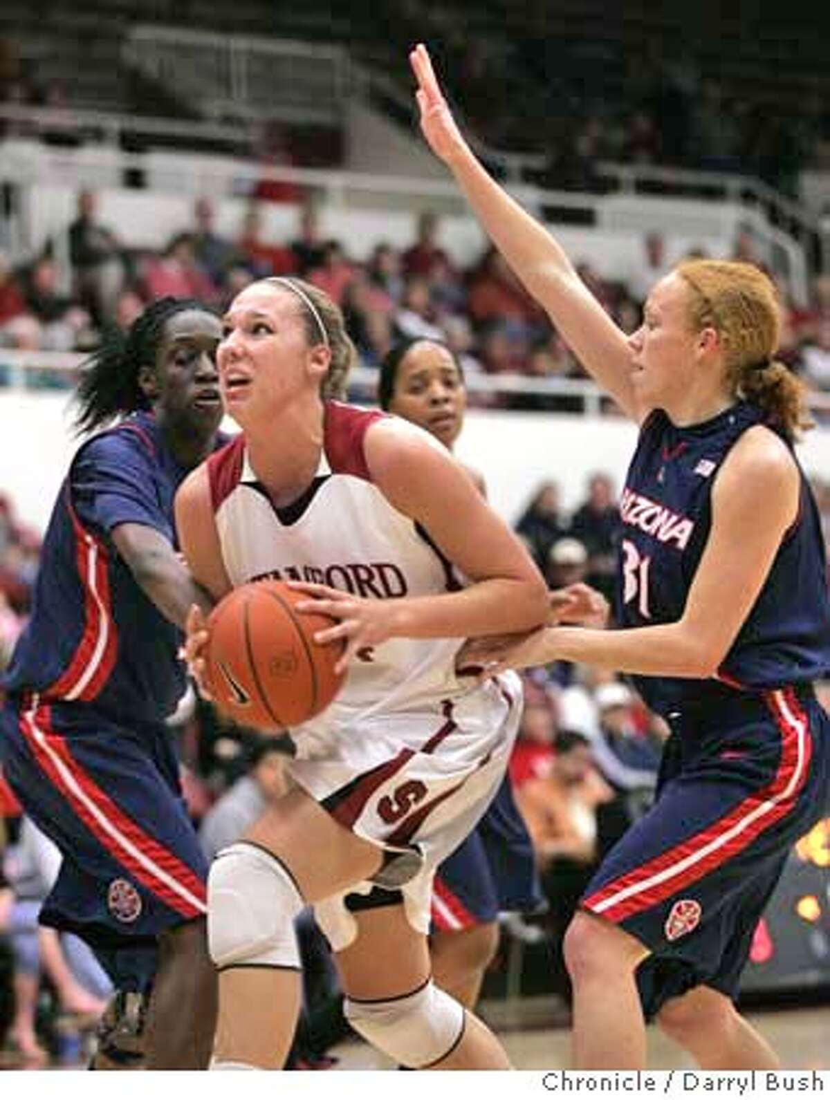 Stanford's Kayla Pedersen, center, drives to the basket past Arizona's Ashley Gilpin, right, in the first half of their NCAA basketball game in Stanford, Calif., Thursday, Feb. 14, 2008. (AP Photo/Darryl Bush)