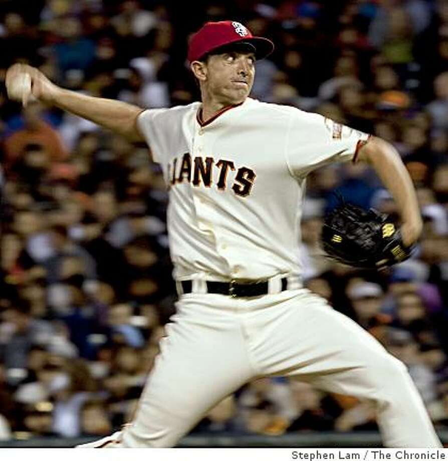 Ryan Sadowski (56) of the San Francisco Giants delivers a pitch against the the Houston Astros at AT&T Park in San Francisco Friday, July 3, 2009. The Giants won 13-0. Photo: Stephen Lam, The Chronicle