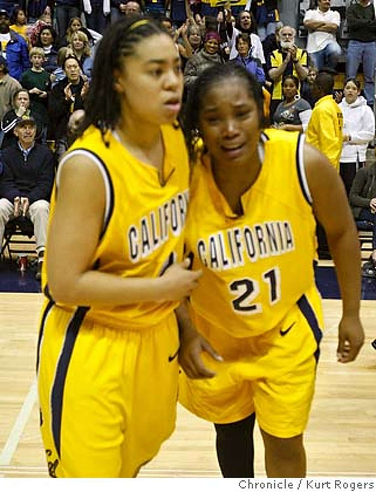 Cal's Natasha Vital and Alexis Gray-Lawson cries after their 60-58 loss to Stanford at Haas Pavilion in Berkeley, Calif., on Saturday, Feb. 23, 2008. Photo By Kurt Rogers / San Francisco Chronicle MANDATORY CREDIT FOR PHOTOG AND SAN FRANCISCO CHRONICLE/NO SALES-MAGS OUT