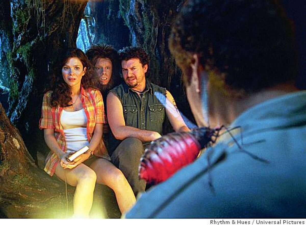 (L to R) Research assistant Holly (ANNA FRIEL), primate Chaka (JORMA TACCONE) and redneck survivalist Will (DANNY MCBRIDE) stare in disgust as a giant mosquito bites has-been scientist Dr. Rick Marshall (WILL FERRELL) in a place of spectacular sights and super-scaled comedy known as the