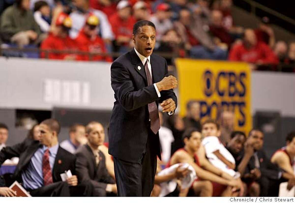 ncaa_323_cs.jpg Stanford Head Coach Trent Johnson registers a range of facial expressions while encouraging his players in the first half as No. 11 ranked Stanford University lost to No. 6 ranked University of Louisville 78-58, Thursday, March 15 in the first-round of the 2007 NCAA Division I Men's Basketball Championship in Lexington, Kentucky at the University of Kentucky Rupp Arena. Chris Stewart / The Chronicle NCAA, men's basketball, Stanford, Louisville, Lexington MANDATORY CREDIT FOR PHOTOG AND SF CHRONICLE/NO SALES-MAGS OUT