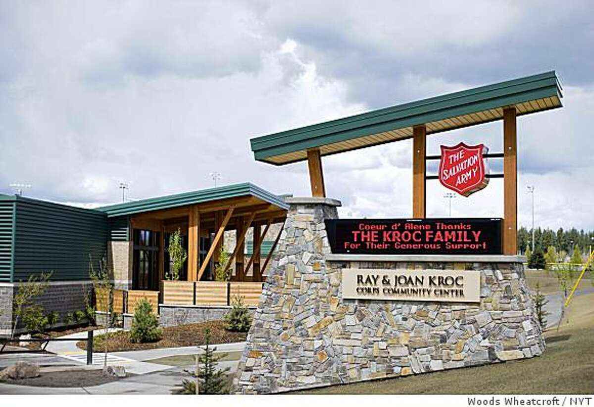 The Ray and Joan Kroc Corps Community Center in Coeur d'Alene, Idaho on May 14, 2009. At her death in 2003, Joan B. Kroc, the widow of the founder of the McDonald's Corporation, left a grand idea and $1.8 billion to make it happen. She wanted the Salvation Army to build some 30 lavish community centers around the nation. But more than five years later, her plan is sputtering. (Woods Wheatcroft/The New York Times)