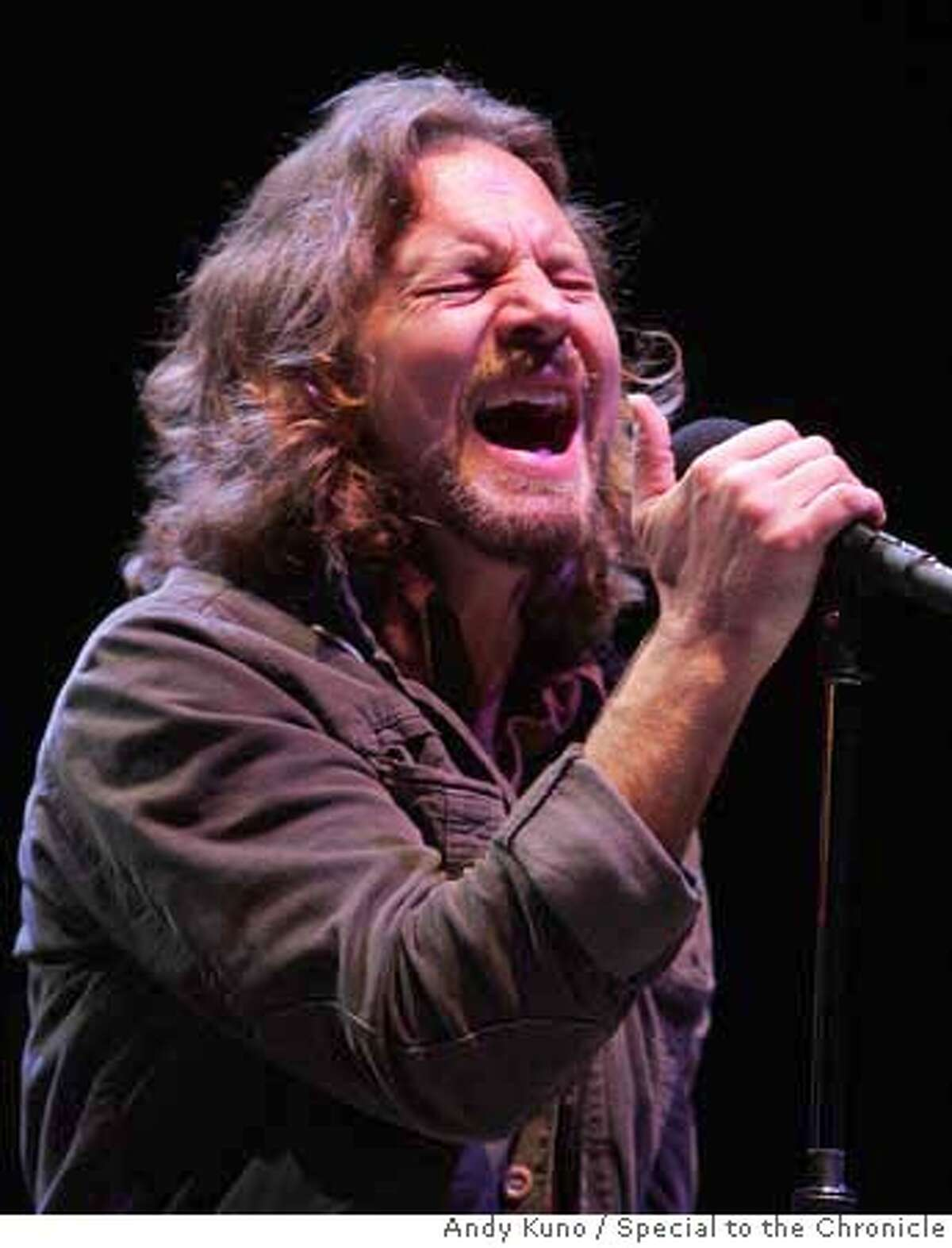 Pearl Jam's Eddie Vedder belts out a note at the Bridge School Benefit Concert at the Shoreline Amphitheatre in Mountain View, Calif. Saturday October 21, 2006. By ANDY KUNO/SPECIAL TO THE CHRONICLE