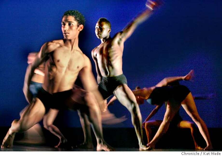 """BLACKCHOREOGRAPHERS_140_KW.JPG  Members of the Savage Jazz Dance Company, (L to R) Omar Carmical, Jerrod Mayo and Tessa Cruz perform """"Ritus"""" by choreorapher Reginald Ray-Savage during opening night of The Black Choreographers Festival: HERE & NOW 2008 at Laney College Theatre on Friday, February 8, 2008 in Oakland, Calif.. Photo by Kat Wade Photo: Kat Wade"""