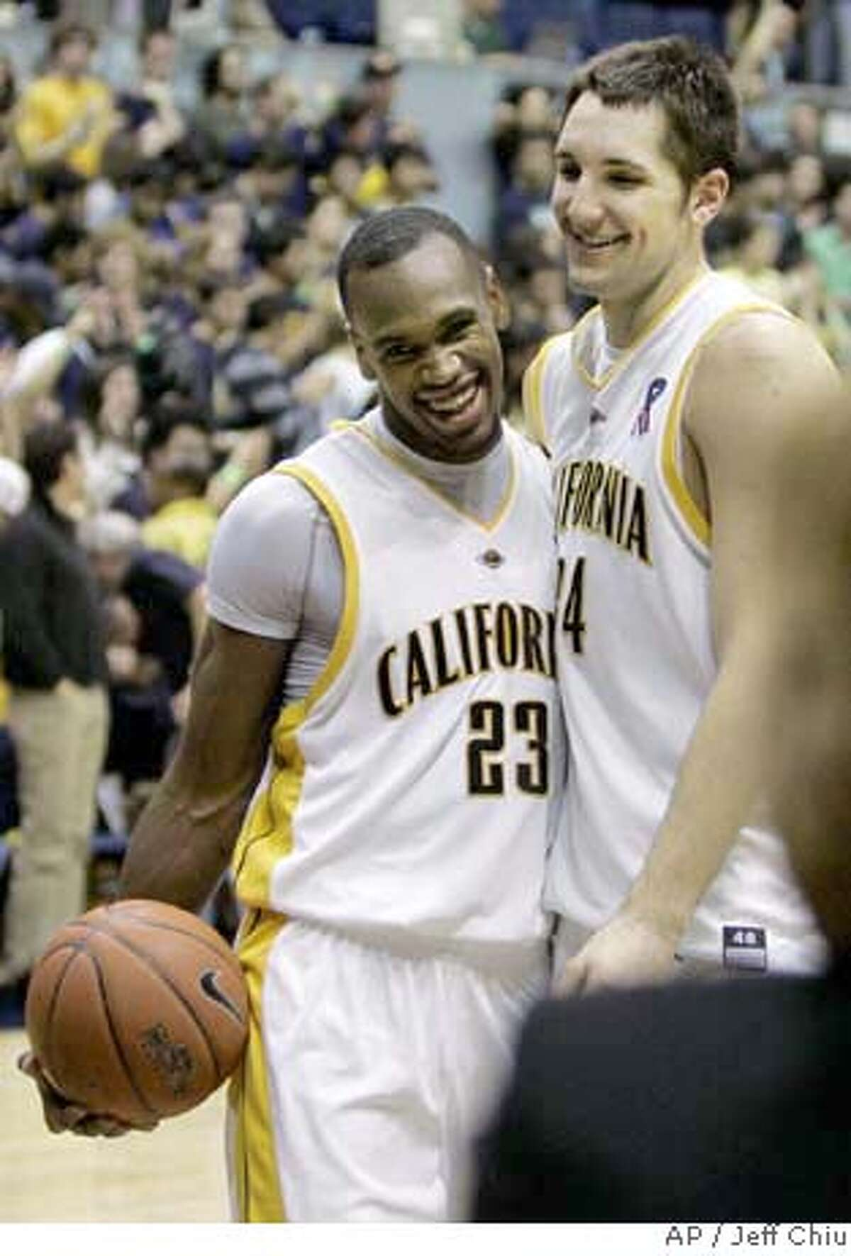 California guard Patrick Christopher, left, and Ryan Anderson celebrate after beating Oregon State in a college basketball game in Berkeley, Calif., Thursday, Feb. 7, 2008. California won 81-76. (AP Photo/Jeff Chiu) EFE OUT