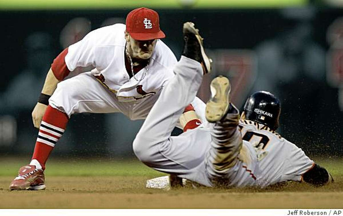 San Francisco Giants' Travis Ishikawa is tagged out by St. Louis Cardinals shortstop Brendan Ryan, left, while trying to steal second during the fifth inning of a baseball game Wednesday, July 1, 2009, in St. Louis.