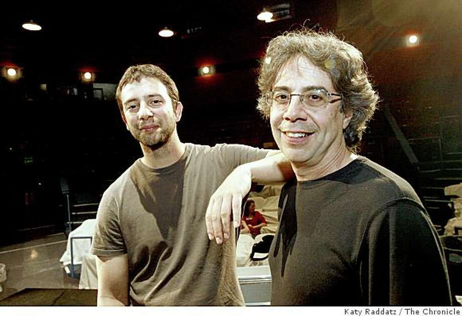 "Itamar Moses, left, the playwright who wrote ""Yellowjackets,"" a play that will premiere at Berkeley Rep, and Tony Taccone, right, the artistic director of Berkeley Rep, in Berkeley, Calif. on Thursday, August 14, 2008. Photo: Katy Raddatz, The Chronicle"