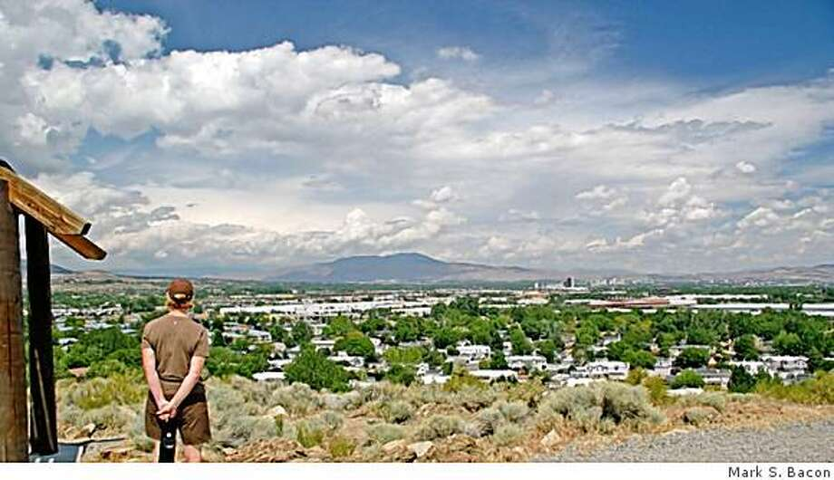 The reward for a short hike up the Huffaker Lookout Trail is a view encompassing much of Reno, including downtown in the distance. Photo: Mark S. Bacon