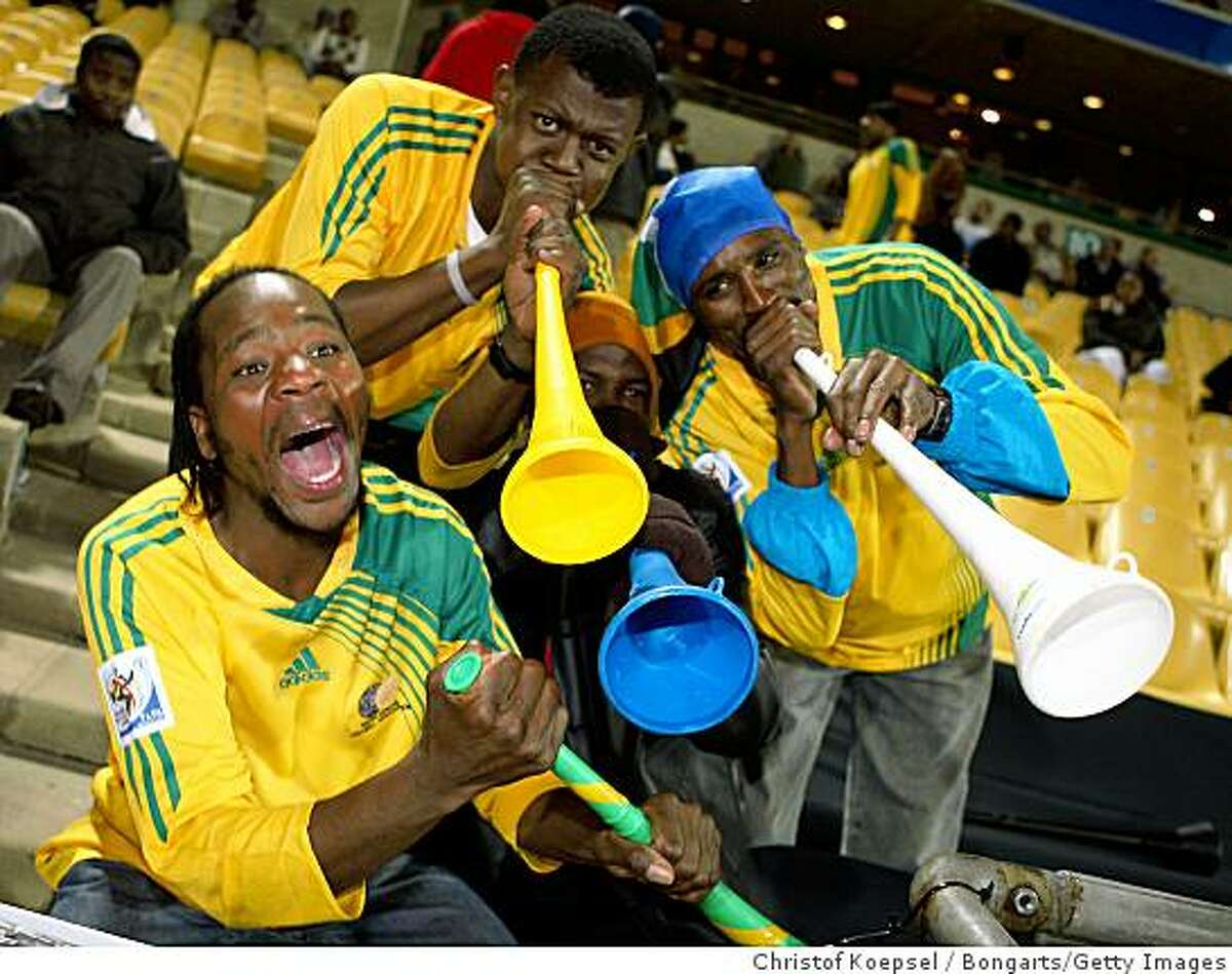 PRETORIA, SOUTH AFRICA - JUNE 16: Fans of South Africa pose during Brazil team's training session at Superstadium on June 16, 2009 in Pretoria, South Africa. (Photo by Christof Koepsel/Bongarts/Getty Images)