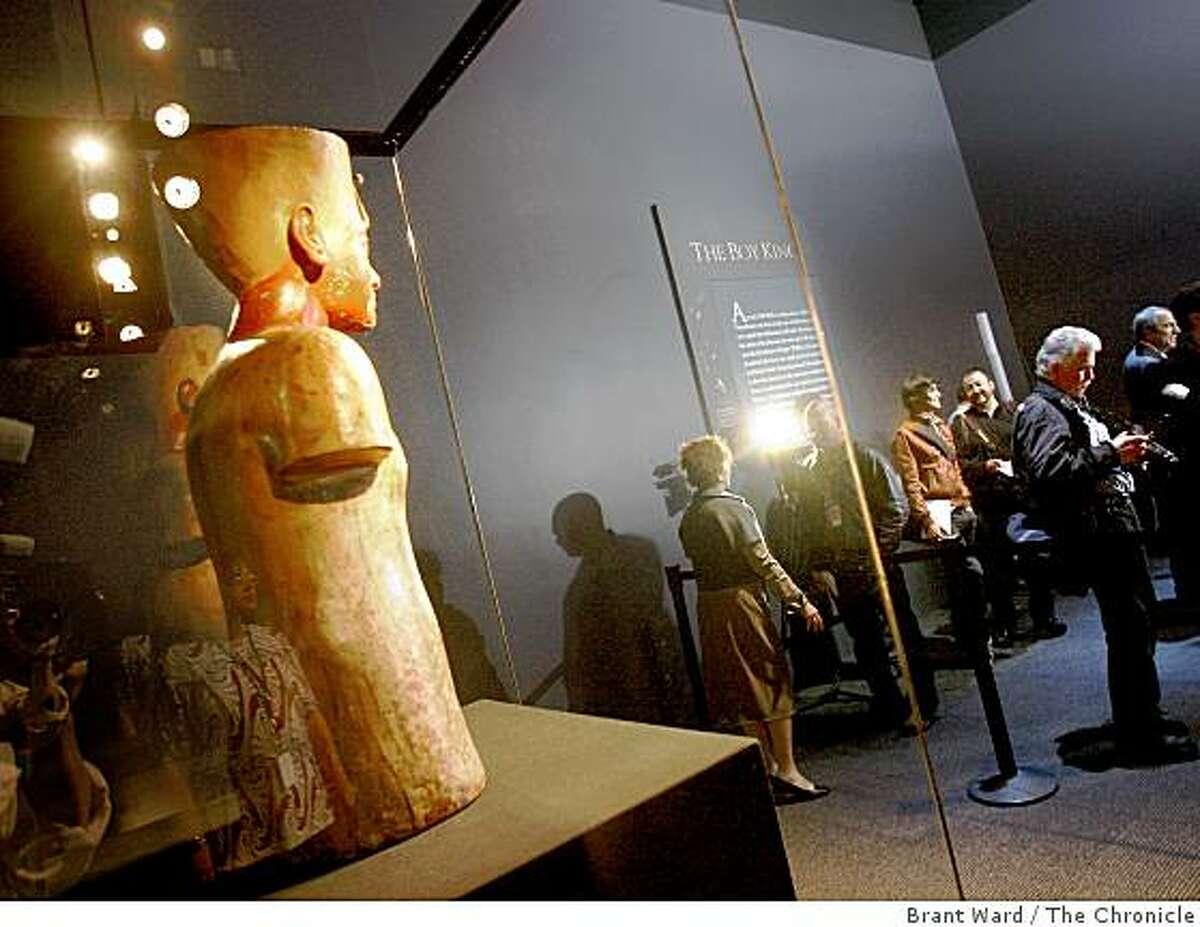 Local media got the first glimpse of a wooden bust of King Tut. Conservators from Alexandria, Egypt brought a wooden bust of King Tutankhamun into the de Young museum Tuesday June 16, 2009 for a media preview of the upcoming exhibit.
