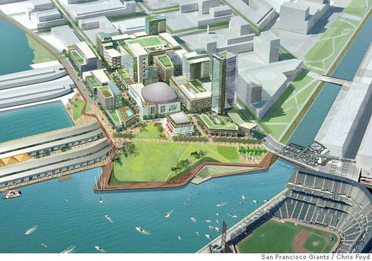 Undated rendering of the development proposal for the parking lot next to AT&T Park. Chris Foyd/San Francisco Giants / Courtesy to San Francisco Chronicle Ran on: 02-14-2008 This rendering shows the San Francisco Giants proposal for the development of the Port of San Franciscos Seawall Lot 337.