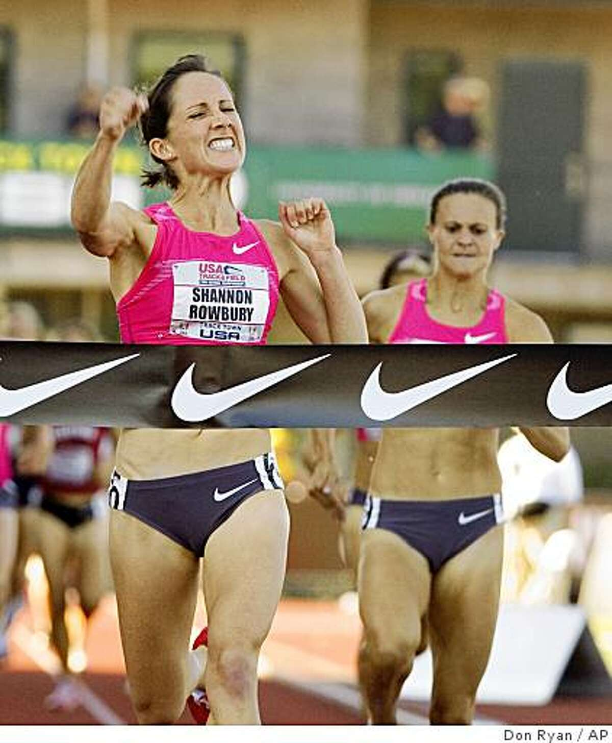 Shannon Rowbury, left, hits the tape ahead of Christin Wurth to win the 1,500 meter race during the U.S. Track and Field Championships in Eugene, Ore., Saturday, June 27, 2009. Rowbury won with a time of 4:05.07 and Wurth took second in 4:06.00.(AP Photo/Don Ryan)