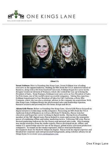 Susan Feldman and Alison Pincus, owners of new shopping website OneKingsLane.com Photo: One Kings Lane