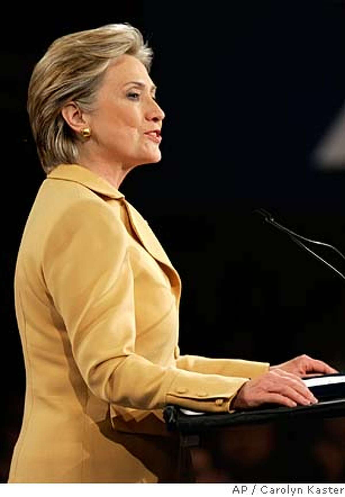 Democratic presidential hopeful Sen. Hillary Rodham Clinton, D-N.Y., address supporters at at her Super Tuesday primary night rally in New York, Tuesday, Feb. 5, 2008. (AP Photo/Carolyn Kaster)