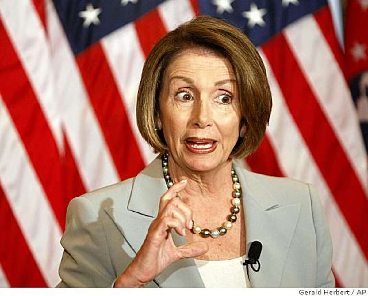 House Speaker Nancy Pelosi of Calif. gestures during her weekly news conference on Capitol Hill in Washington, Thursday, June 18, 2009. (AP Photo/Gerald Herbert)