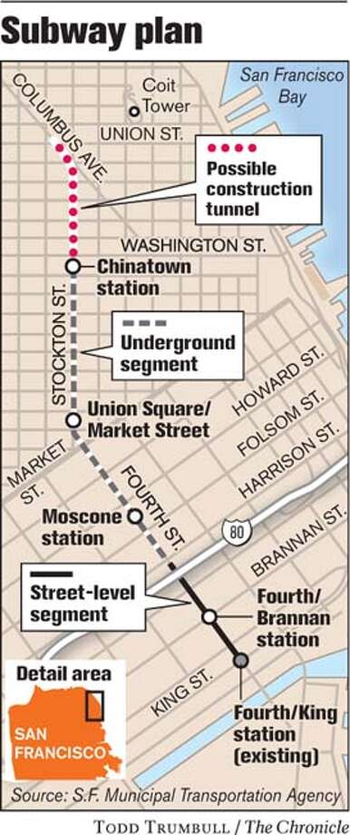 Subway Plan. Chronicle graphic by Todd Trumbull