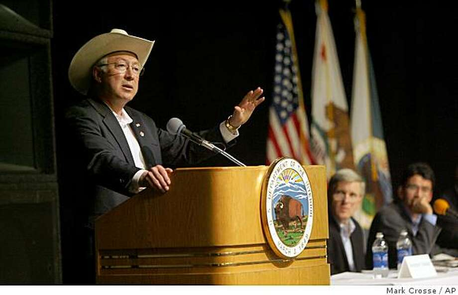 Secretary of the Interior Ken Salazar addresses a town hall meeting at Fresno State's Satellite Student Union on Sunday, June 28, 2009 in Fresno, Calif.  . A packed house representing mostly farming and farmworker interests discussed the hopes and  challenges of providing more water for farms in the San Joaquin Valley.  (AP Photo/The Fresno Bee,Mark Crosse) Photo: Mark Crosse, AP
