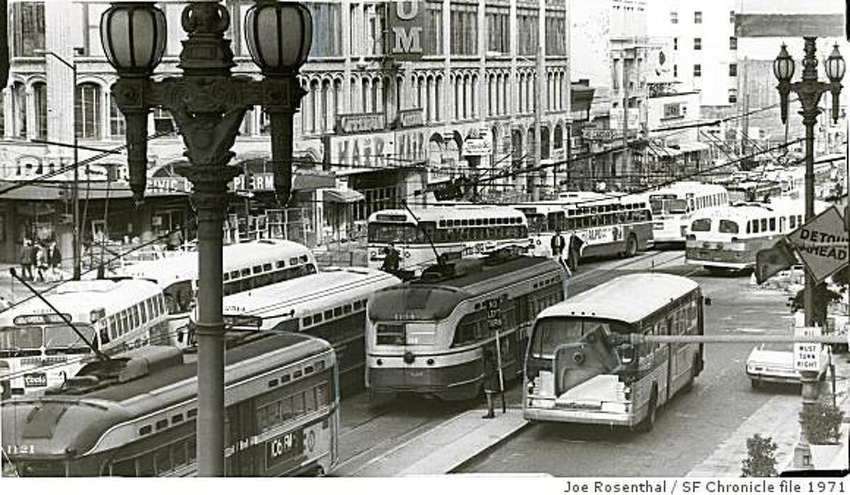 native28_2.jpg January 19, 1971 - SF TRANS - MUNI - GENL The Time Was Noon - Bus-streetcar tie-up on Market St. This is how Eighth and Market streets looked yesterday during a 57-minute noontime power failure that stopped streetcars and trapped buses in the vicinity of Market and Van Ness avenue. The power was out between 12:15 p.m. and 1:12 p.m., according to the Municipal Railway. The failure was believed caused by a truck hitting a power line.