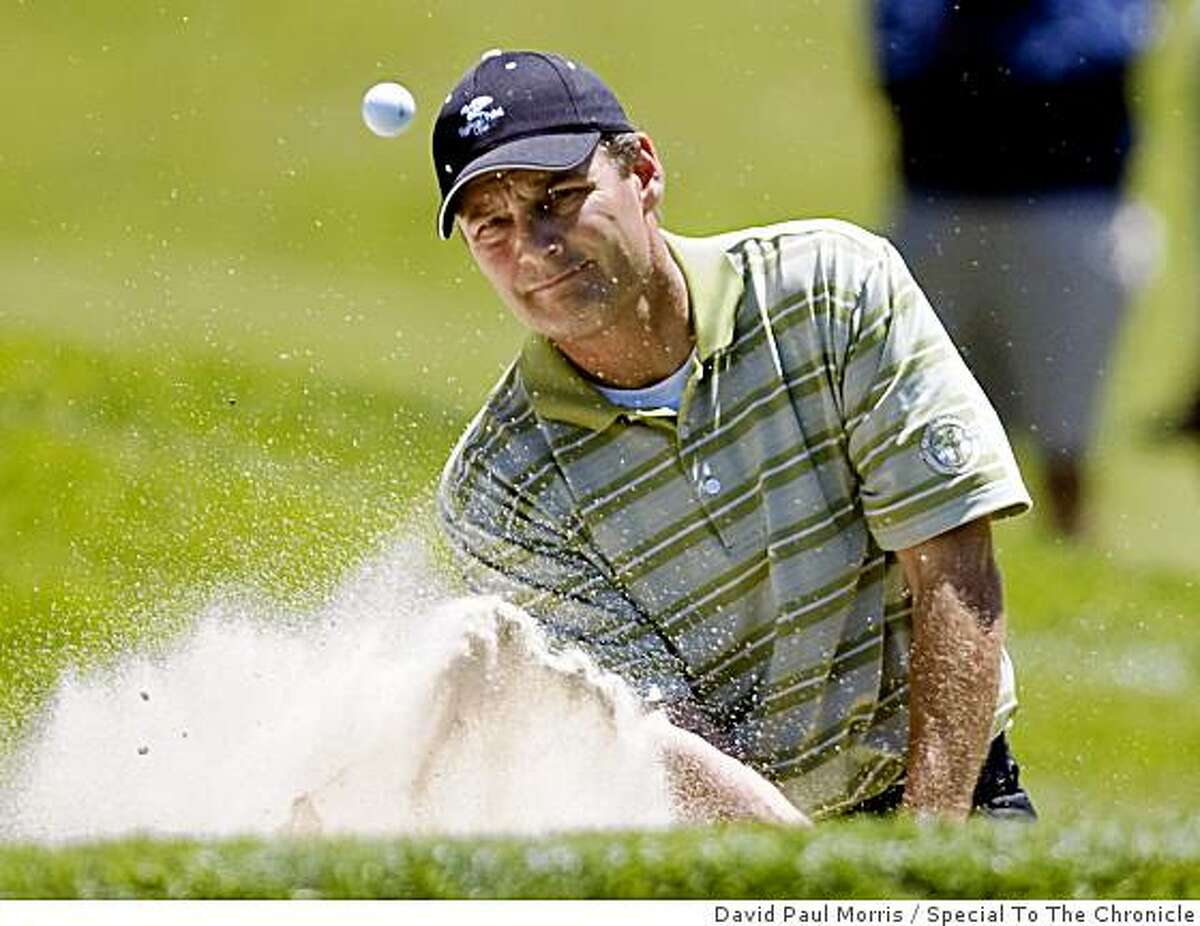 Jeff Wilson of Fairfield hits out of the bunker on the 13th hole during the California State Amateur Championship at Lake Merced Golf and Country Club on June 27, 2009 in Daly City, Calif.