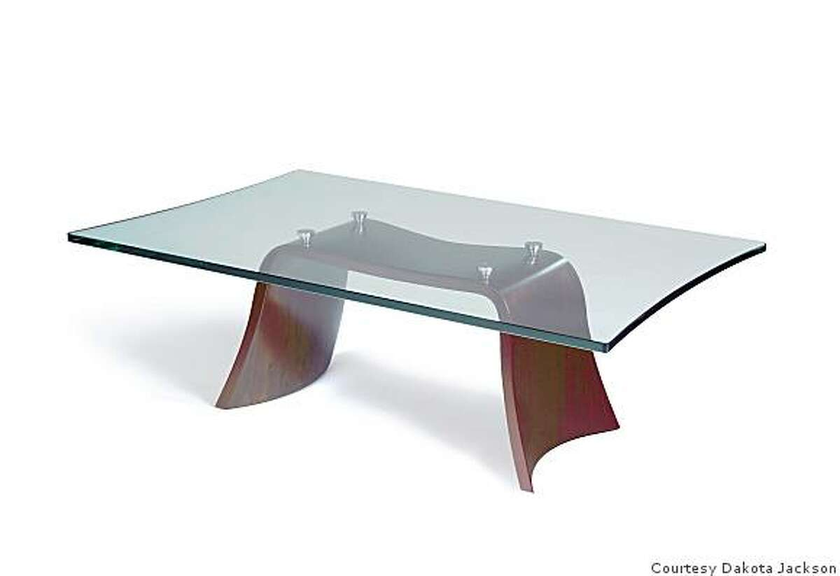 Cascade coffee table made of molded maple plywood and tempered glass, was designed by Dakota Jackson