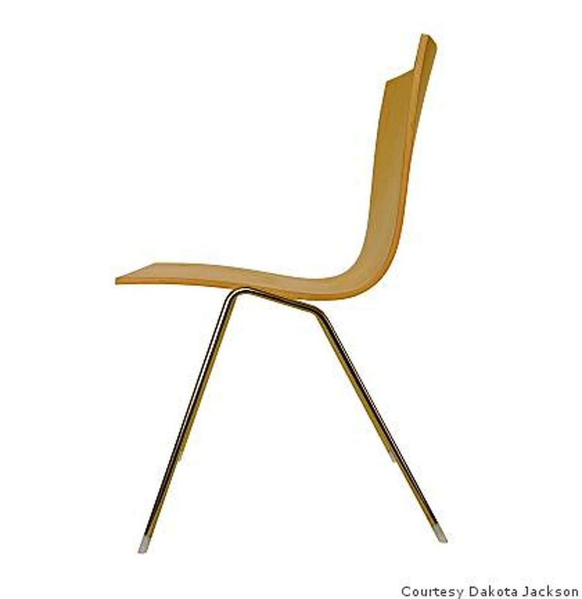 Tango chair made of molded plywood and stainless steel, was designed by Dakota Jackson
