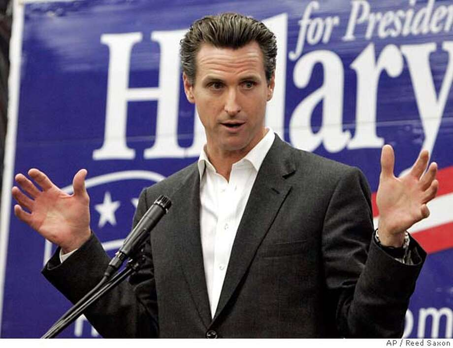Mayor Gavin Newsom of San Francisco, Calif., joins other California mayors to promote Democratic presidential hopeful Hillary Rodham Clinton's economic stimulus package as a measure to improve the lives of working families, at Clinton's East Los Angeles campaign office Wednesday, Jan. 30, 2008. (AP Photo/Reed Saxon) Photo: Reed Saxon