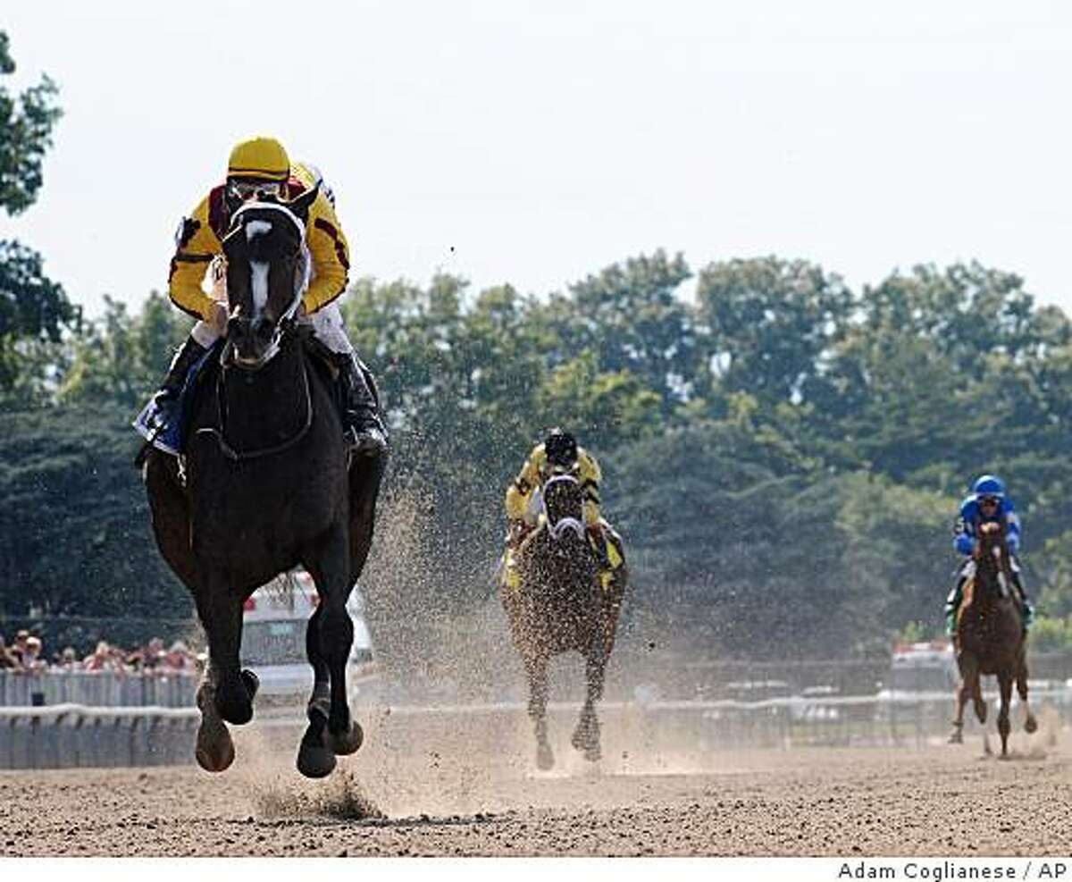 In this photo provided by New York Racing Association, Rachel Alexandra with jockey Calvin Borel, captures The Mother Goose stakes horse race at Belmont Park, in Elmont, N.Y. on Saturday, June 27, 2009. (AP Photo/New York Racing Association, Adam Coglianese) ** NO SALES **