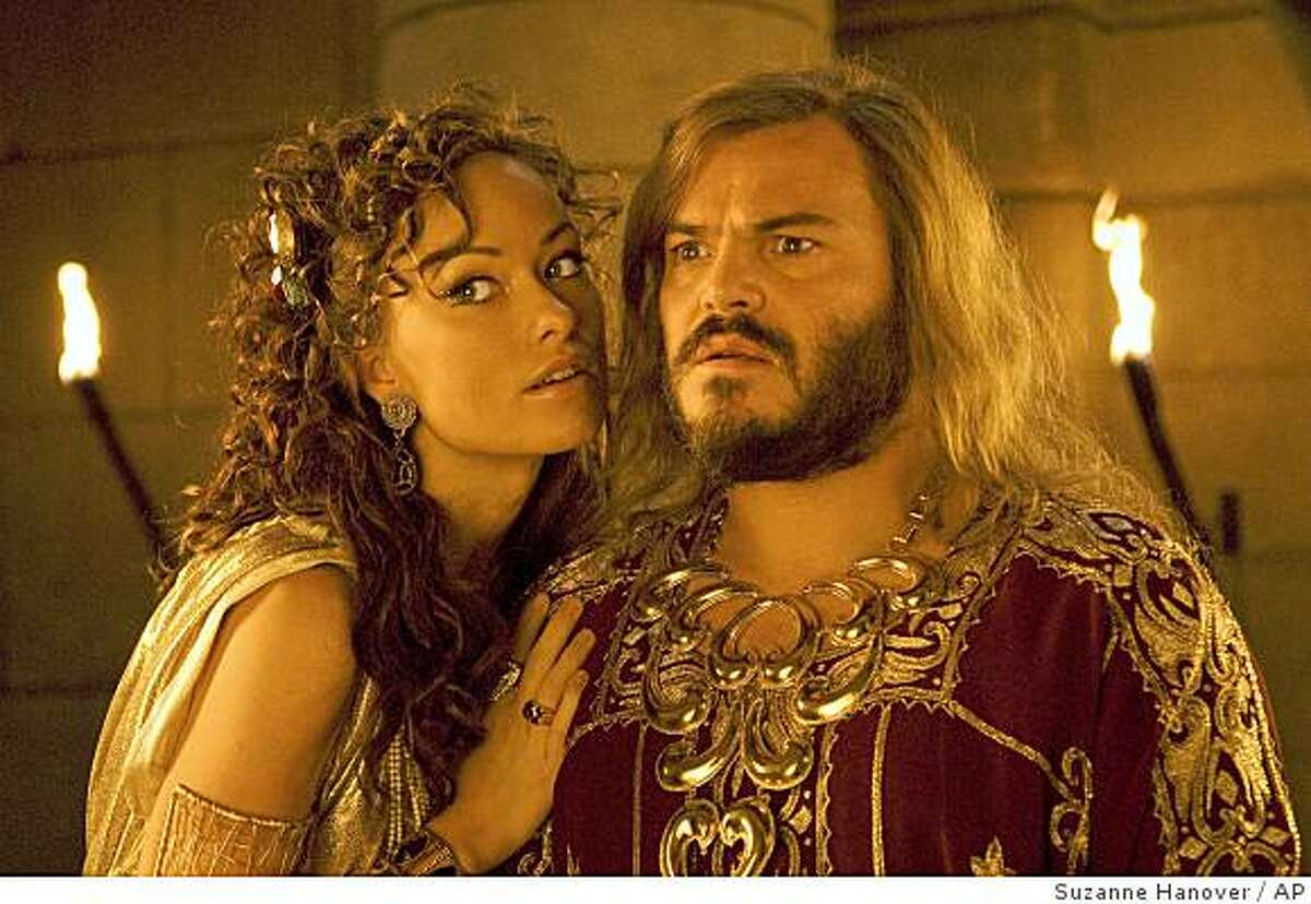 In this film publicity image released by Columbia Pictures, Olivia Wilde, left, and Jack Black are shown in a scene from