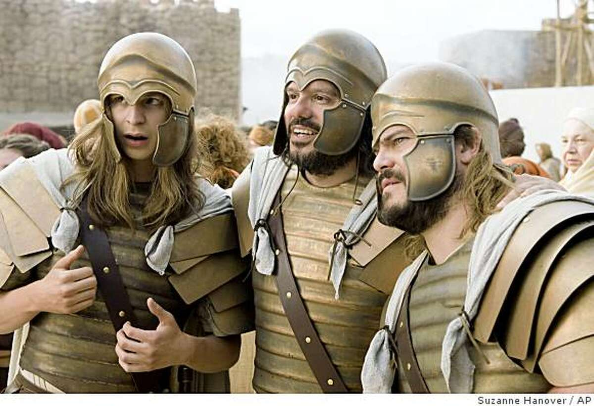 In this film publicity image released by Columbia Pictures, Michael Cera, left, David Cross, center, and Jack Black are shown in a scene from