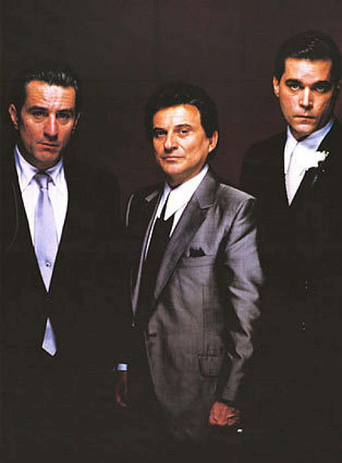 Robert De Niro as Jimmy Conway, Joe Pesci as Tommy DeVito and Ray Liotta as Henry Hill in