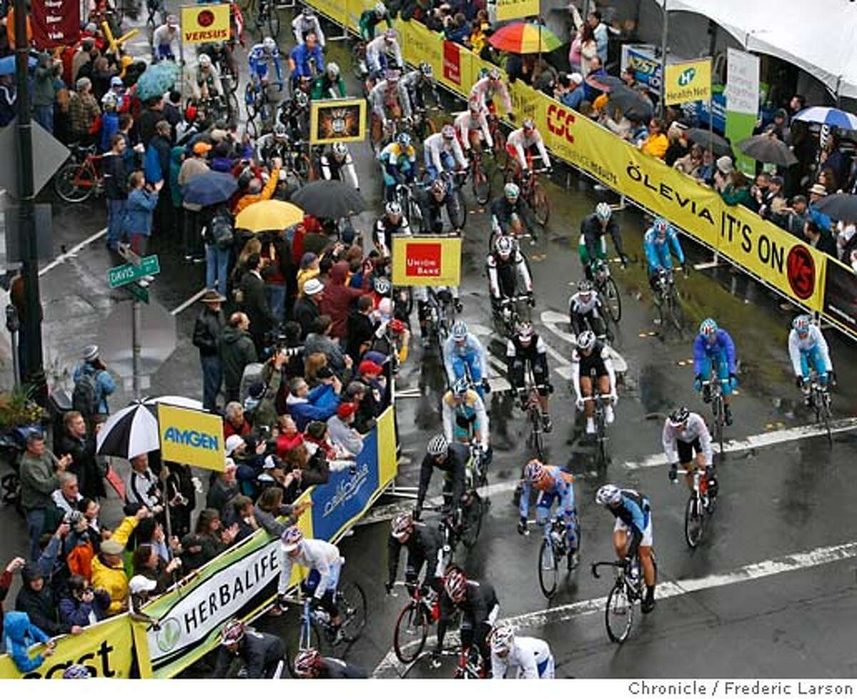 Many came out in the rain to see the start of the 2nd stage of the Amgen Tour of California bike race was from Rail Square on 4th and Davis Streets of Santa Rosa to Sacramento. MANDATORY CREDIT FOR PHOTOG AND SAN FRANCISCO CHRONICLE/NO SALES-MAGS OUT