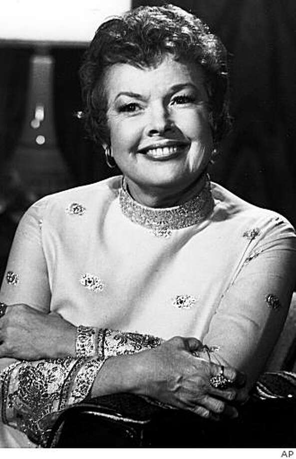 "FILE- This undated file photo shows Actress Gale Storm, whose wholesome appearance and perky personality made her one of early television's biggest stars on ""My Little Margie"" and ""The Gale Storm Show.""   Storm died on Saturday, June 27, 2009 at age 87. (AP Photo/File) Photo: AP"