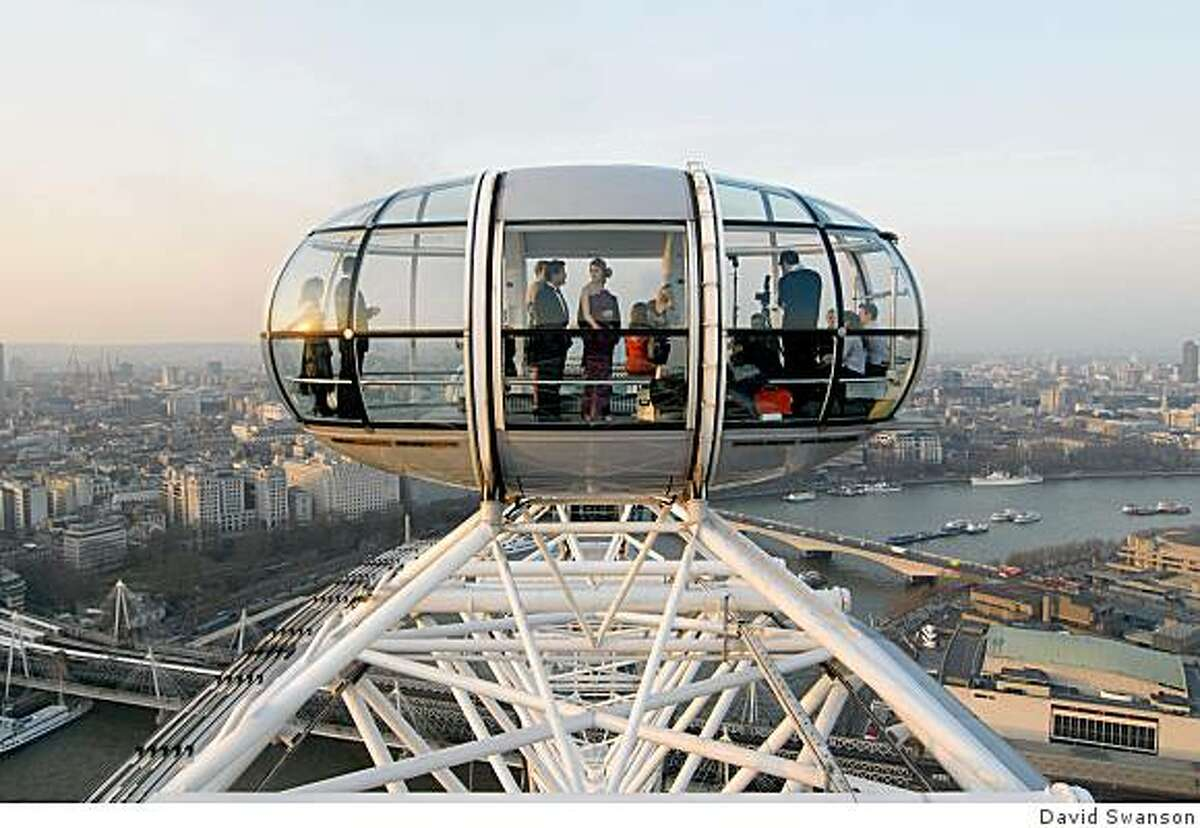 Enjoying the view from the London Eye, the world's tallest observation wheel.