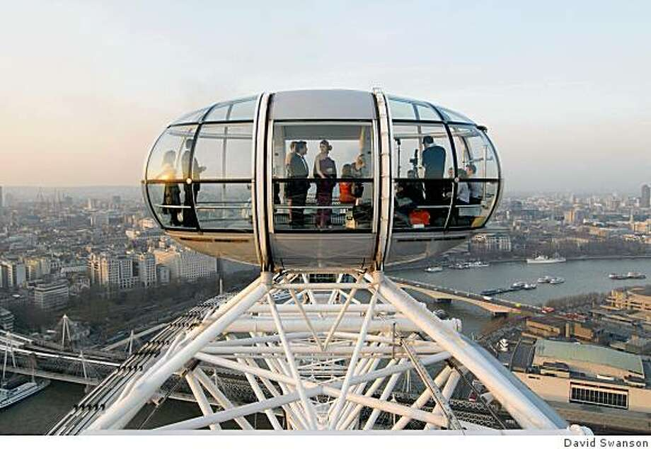 Enjoying the view from the London Eye, the world's tallest observation wheel. Photo: David Swanson