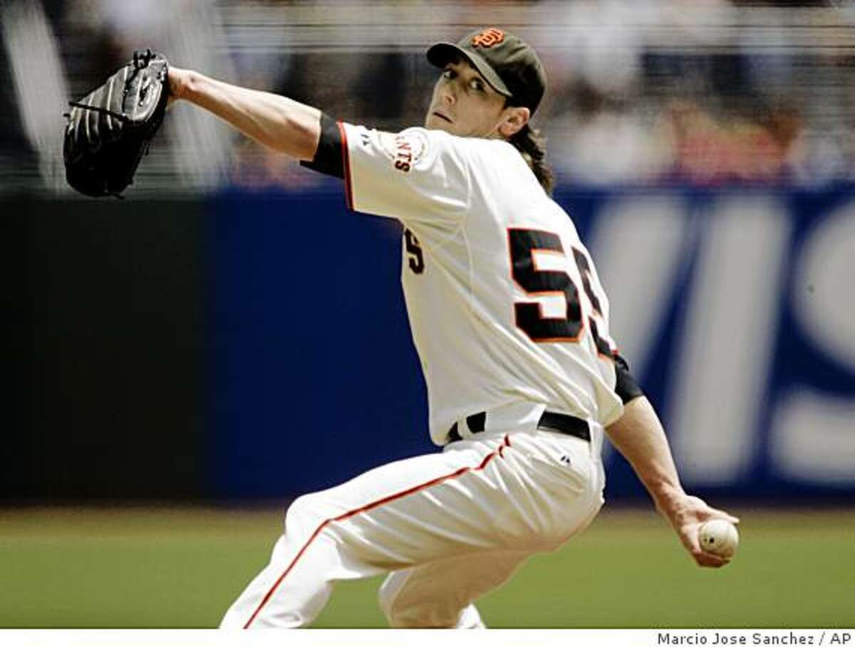 San Francisco Giants starting pitcher Tim Lincecum throws to the Los Angeles Angels during the first inning of an interleague baseball game in San Francisco, Wednesday, June 17, 2009.(AP Photo/Marcio Jose Sanchez)