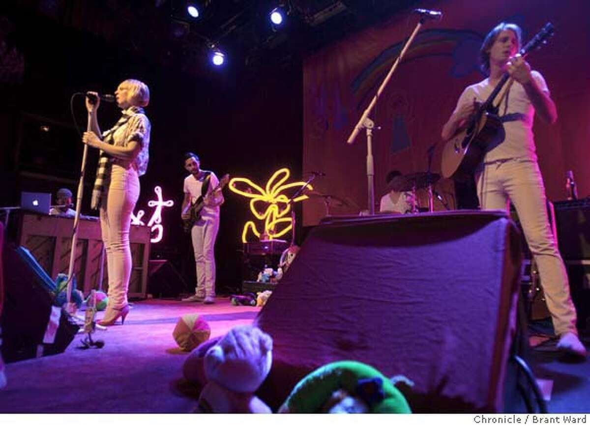 Sia and her band were surrounded by stuffed animals and childlike drawings. Sia and her band performed at the Fillmore in San Francisco. (Photo by Brant Ward/San Francisco Chronicle)