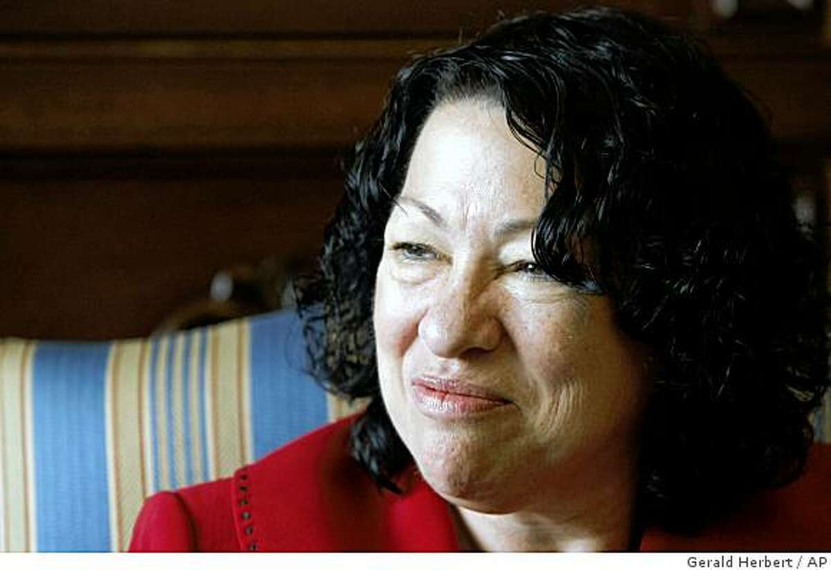 Supreme Court nominee Sonia Sotomayor meets with Sen. Jim DeMint, R-S.C., not shown, Tuesday, June 9, 2009, on Capitol Hill in Washington. (AP Photo/Gerald Herbert)