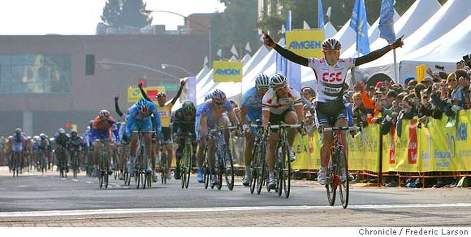 J.J (Juan Jose) Haedo of Argentina wins the second stage of Amgen Tour of California from Sausaulito crossing the finish line in Santa Rosa. Photo: Frederic Larson