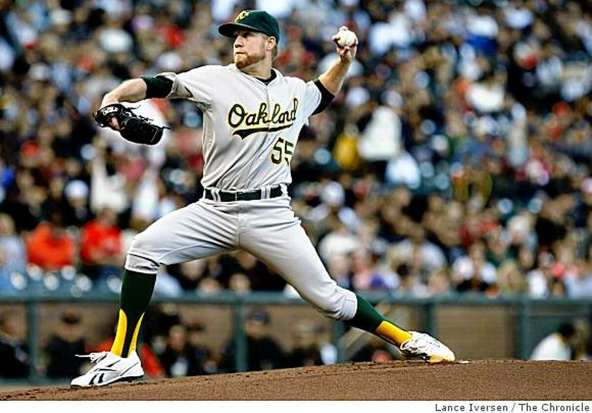 Josh Outman the starting pitcher for theOakland Athletics pitched against San Francisco at AT&T Park in San Francisco on Saturday.